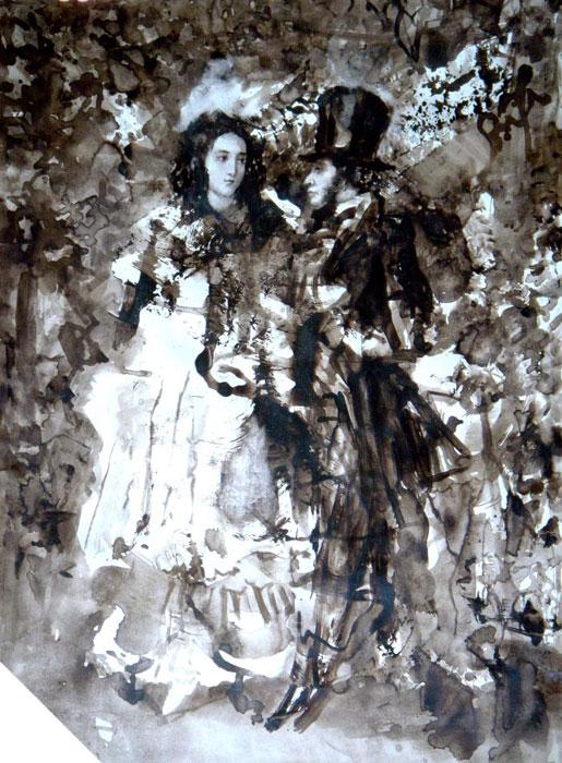 Пушкин с женой в саду